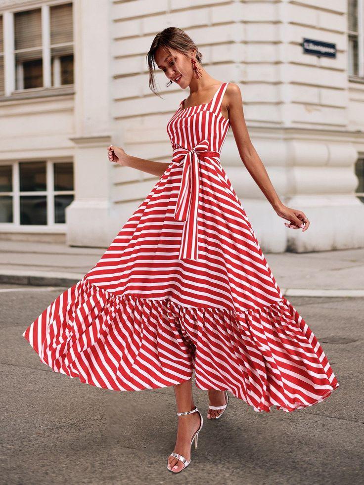 Sexy Sling Striped Maxi Dress No reviews 2