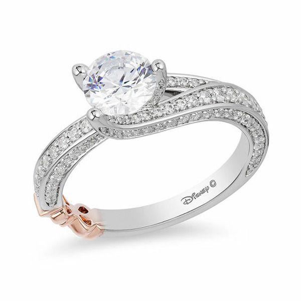 Enchanted Disney Cinderella 1 Ct T W Diamond Frame Collar Engagement Ring In 14k Two Tone Gold Zales Disney Engagement Rings Black Diamond Ring Engagement Bow Engagement Ring