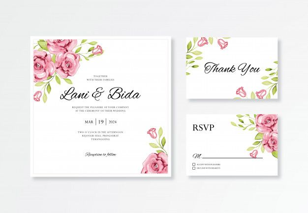 Beautiful Wedding Card Invitation Set Template With Floral Watercolor Elegant Wedding Invitation Card Wedding Cards Wedding Invitation Templates