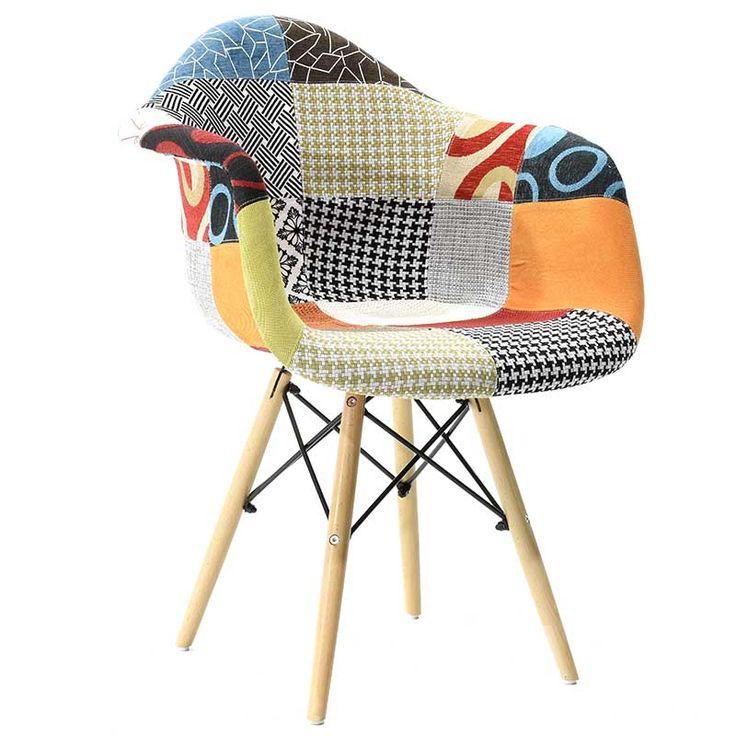 Πολυθρόνα Julita πολυπροπυλενίου με επένδυση υφάσματος χρώμα patchwork