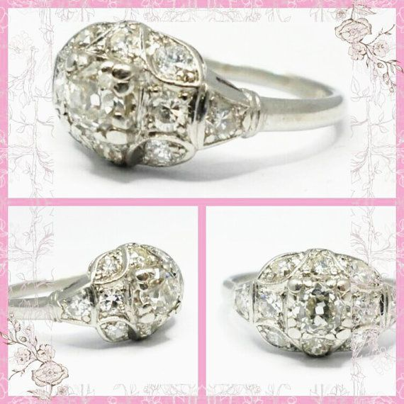 Art Nouveau Platinum Ring, •88 Carat Old Cut Diamonds, Halo Engagement Ring, Hand made, 1940s Ring, All Platinum Set, 4•17 Grams, VSI2
