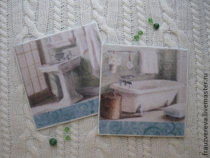 `Доброе утро`-Таблички для ванной и туалета. Большие таблички для ванной и туалета, сделаны в технике декупаж. Таблички на столько самодостаточны, что не хотелось не  добавлять чего-то  не состаривать. Такое ощущение, что время само уже здесь поработало.