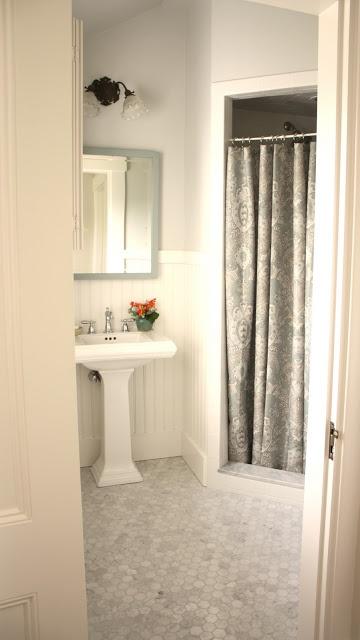 hexagon marble floor tile bathrooms pinterest