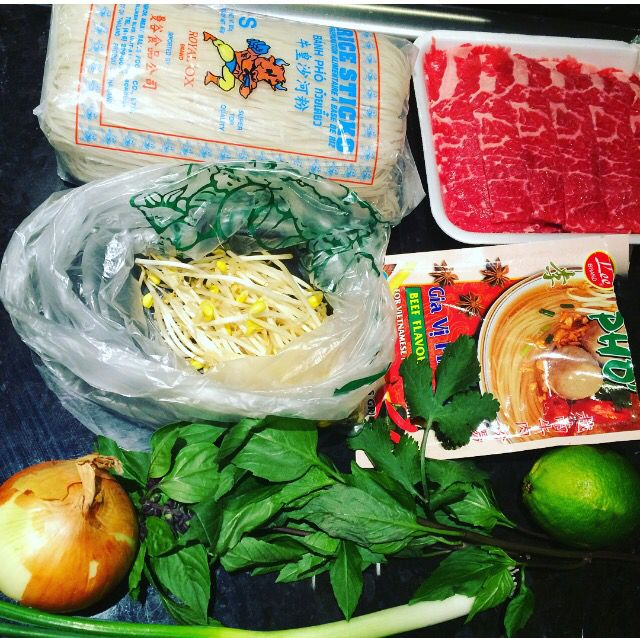1. All you need for Quicktime Fuh ! Cook The Rice Noodle | Follow The Instructions on the packet of the broth | I used very thinly sliced Rib-Eye | Green Onion | Onion | Cilantro | Bean Sprout | Lime Wedge | Add the Rice Noodle to the Bowl | Cut up & add add all the Ingredients on top of the Noodle | Add the hot broth | and Viola Davis !