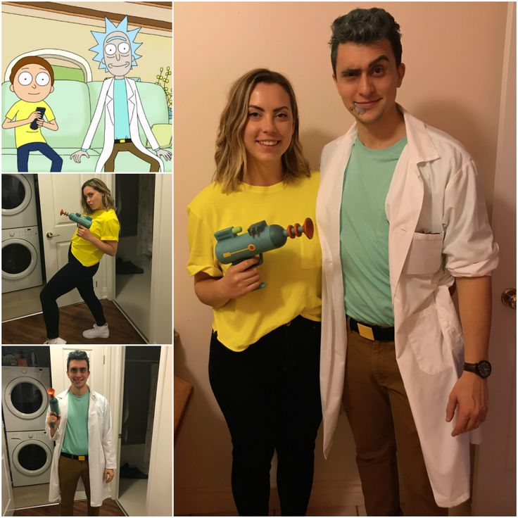 Rick and Morty costume for Halloween 2017. Belt is a DIY, laser gun from Hot Topic.