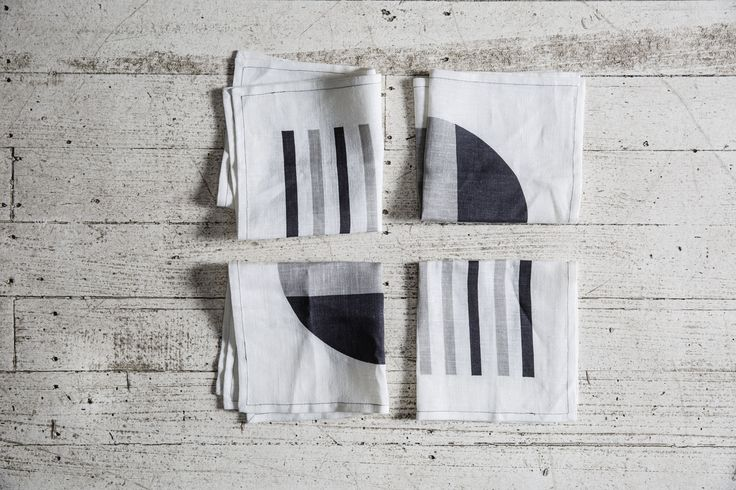 The Echo Linen Napkin 6 Pack  Magnet/Paloma/Nimbus Cloud - http://kateandkate.com.au/shop/collections/the-echo-linen-napkin-6-pack-2/ These linen napkins have been made with big love by Kate & Kate. Screen printed by hand on 100% linen for enduring quality.