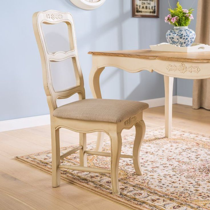 Wooden Dining Chair Cream Linen Foam Seat Ladder Back Solid Wood Desk Furniture