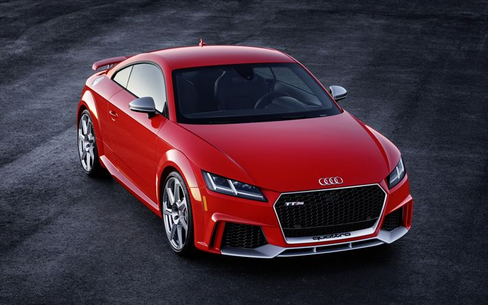 Download wallpapers Audi TT RS, 2018, sports coupe, German cars, Red TT, Audi
