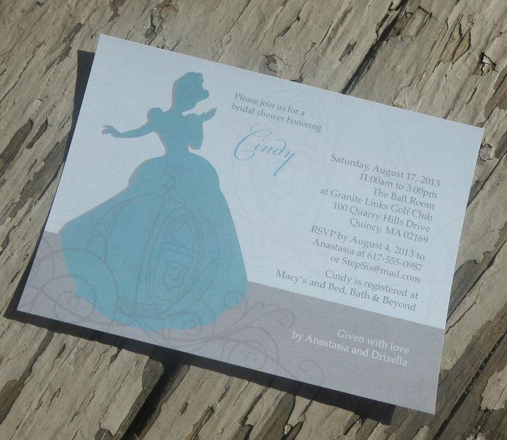 Disney's Cinderella Theme Bridal Shower Invitation - Custom Printable PDF by KellieCecilia on Etsy https://www.etsy.com/listing/160626679/disneys-cinderella-theme-bridal-shower