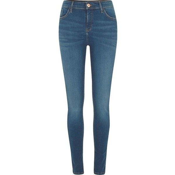 River Island Mid blue Amelie super skinny jeans found on Polyvore featuring jeans, pants, calça, bottoms, blue, skinny jeans, women, blue skinny jeans, zipper skinny jeans and skinny fit denim jeans