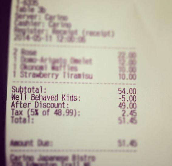 Des enfants bien élevés, c'est moins 5$ sur l'addition dans ce restaurant