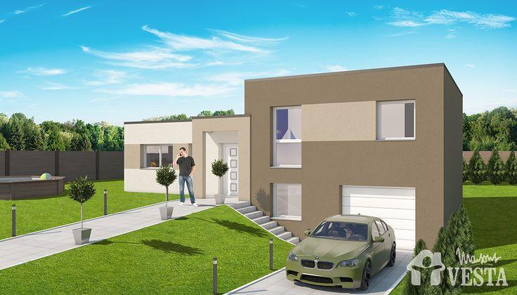 Maisons VESTA : Modèle Olympe (demi-niveau style contemporain). Surface : 85m² + 45.77 m² de surface annexe