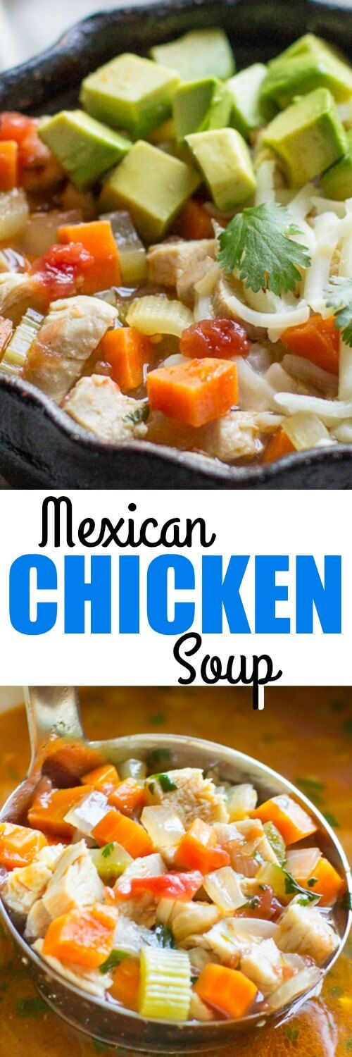 Mexican Chicken Soup is easy, delicious, and accidentally healthy! It's also ready in 30 minutes or less and a great way to put leftover chicken to work.