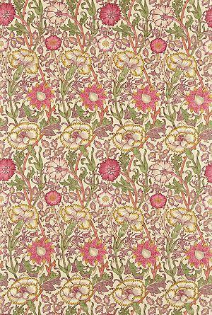 Englische Design Tapeten William Morris Luxus Papier Tapete Muster 8 rote Blumen online kaufen