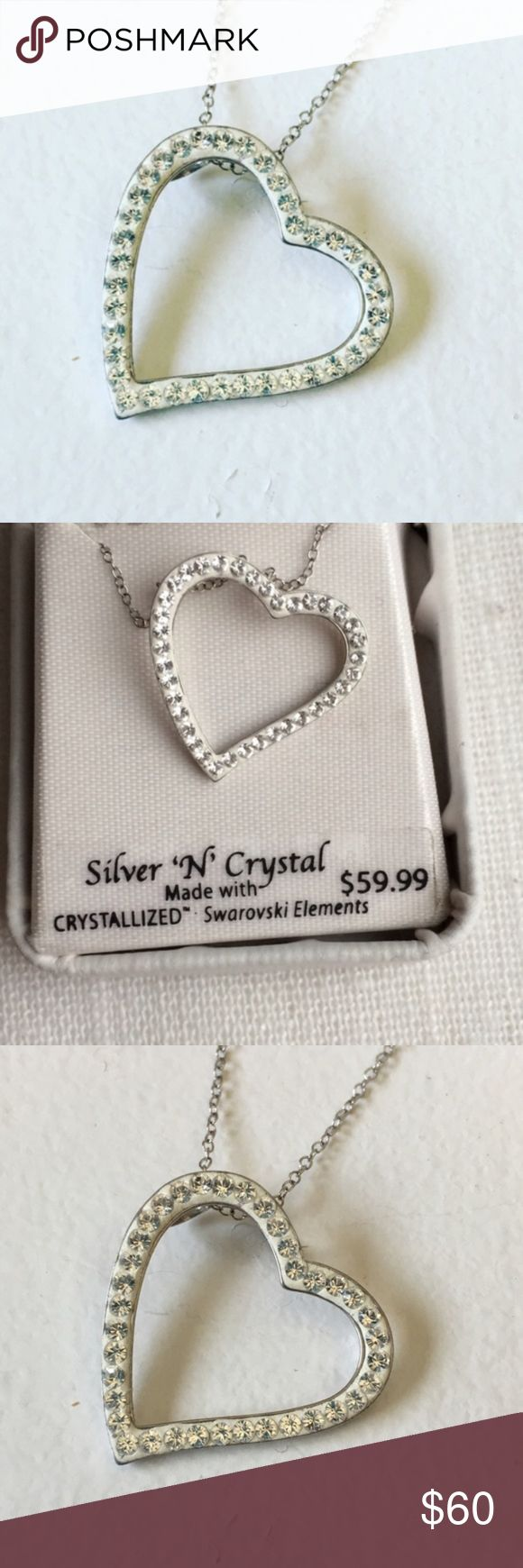 """NEW Sterling Silver Swarovski Heart Necklace Brand: unbranded  Condition: Brand new in box  MSRP: $59.99  Size: 18"""" chain  Material: Sterling silver & swarovski elements crystals Jewelry Necklaces"""
