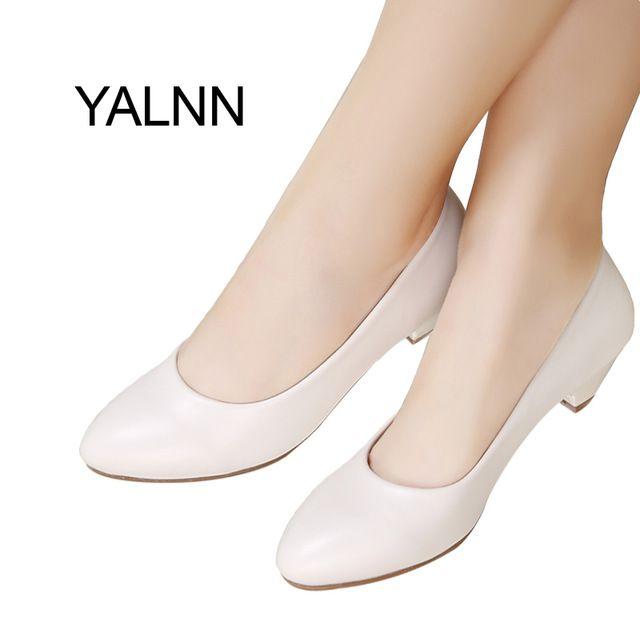 Good Price $22.93, Buy YALNN Fashion New 3cm heels Shoes Office Lady Dress Pumps Women Shoes Black Mature Women High Heels Zapatos Pumps