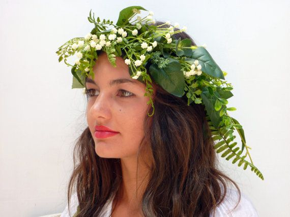 Green leaf crown Lana del ReyBabies breath by BlackSwanFeather