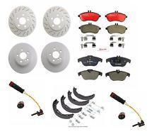 Set of 2 Front Brake Rotors + 2 Rear + Pads & Sensors for Mercedes C250 C300