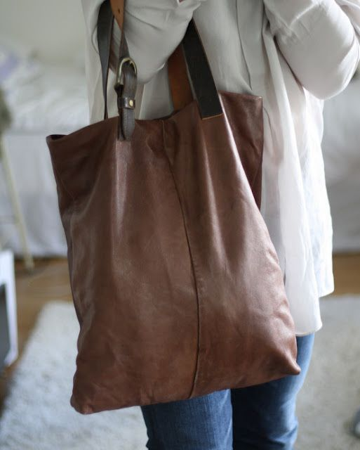 finnish sisters make flax cloth bags with recycled belts. beautiful and simple