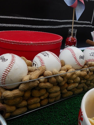 Boy's Baseball Theme Party - Hamburgers, Hotdogs, Baseball/Peanuts Centerpiece, and gives adults a good excuse to drink beer!