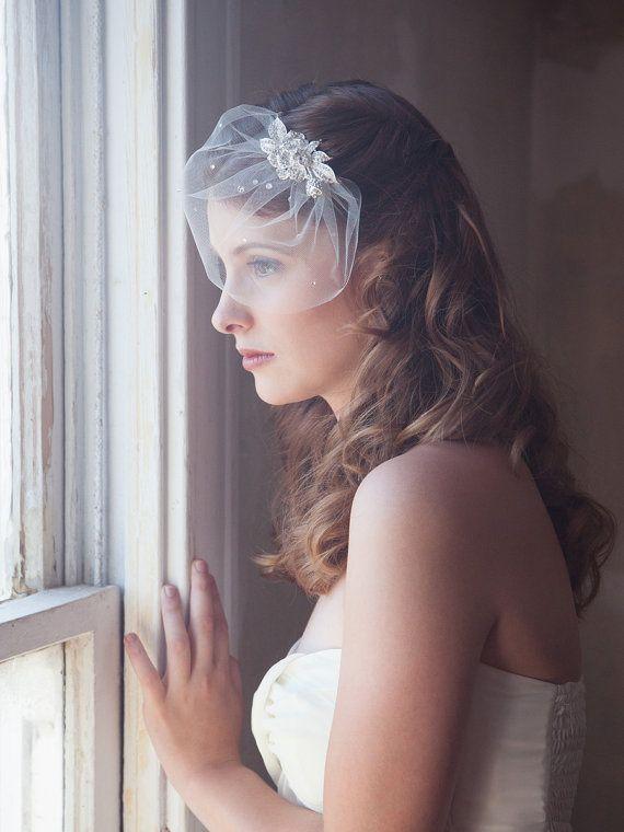 ivory birdcage mini veil, bridal veil, tulle birdcage veil, wedding birdcage, bling sparkle veil, crystal cage veil, wedding veil, STYLE 402