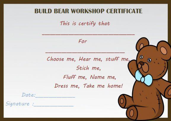 Build Bear Workshop Certificate Birth Certificate Template Certificate Template Certificate Templates