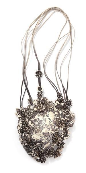 Hanna Hedman, Black Bile, 2013, necklace, silver, copper, leather, paint, 590 x 230 x 90 mm, photo: Sanna Lindberg