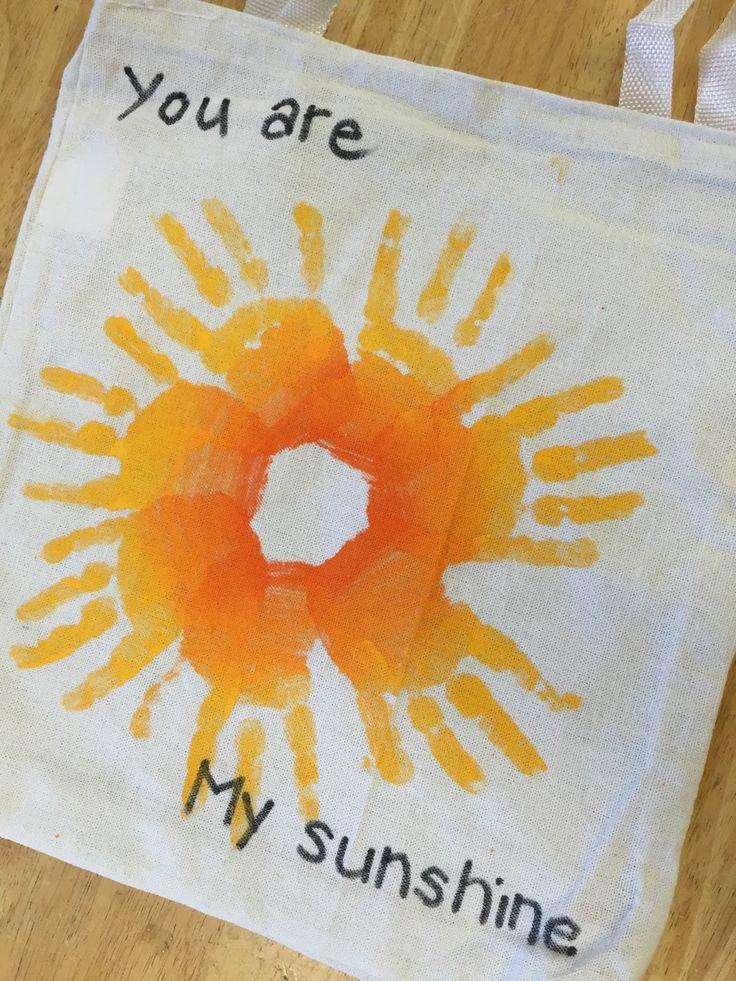 You are my sunshine hand print craft. canvas bag craft. Terrific Preschool Years