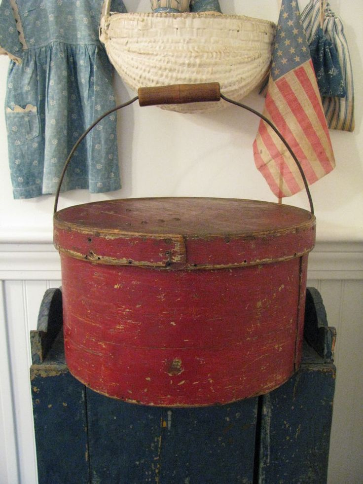"LARGE 11 1/2"" THICK WALLED ANTIQUE BAIL HANDLE PANTRY BOX IN OLD PAINT ~ yankeei ~ West Barnstable, Massachusetts"