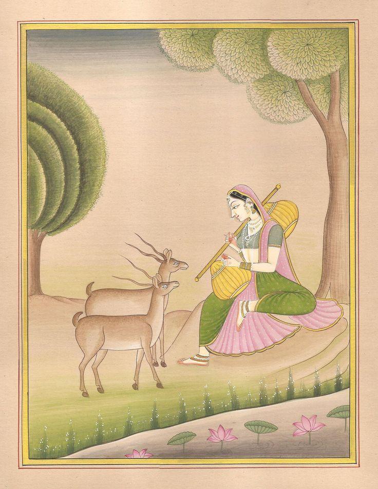 Todi Ragini Miniature Painting Indian Rajasthani Ethnic Handmade Ragamala Art