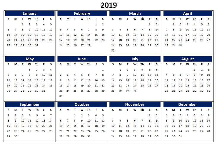 2019 word calendar printable