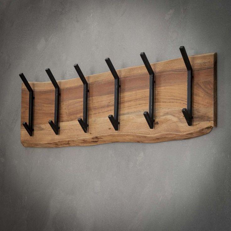 Wandgarderobe Holz-Metall, Garderobe Holz, Breite …