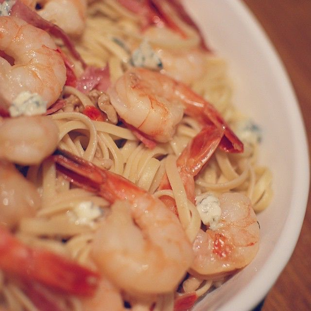 Does it get any better than this? Try our succulent shrimp linguine with blue cheese at your next dinner party! - The Busy Kitchen