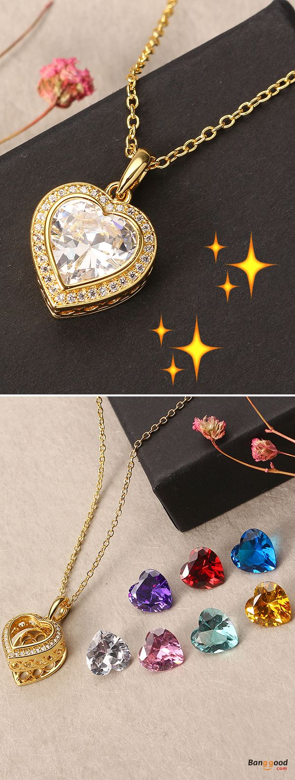 US$29.99 + Free shipping. Material: 18K Gold Plated (Nickel Free), Fine Copper, Zircon (White, Pink, Purple, Blue, Lake Blue, Yellow, Red). Fall in love with trendy style! JASSY® Gold Plated Necklace with 7 Different Color Gemstone Open Heart Pendant Fine Women Jewelry.