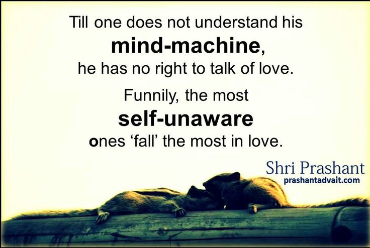 Till one does not understand his mind-machine, he has no right to talk of love. Funnily, the most self-unaware ones 'fall' the most in love. ~ Shri Prashant #ShriPrashant #Advait #mind #understanding Read at:- prashantadvait.com Watch at:- www.youtube.com/c/ShriPrashant Website:- www.advait.org.in Facebook:- www.facebook.com/prashant.advait LinkedIn:- www.linkedin.com/in/prashantadvait Twitter:- https://twitter.com/Prashant_Advait