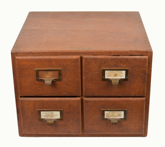 Antique Shaw Walker 4 Drawer Library Index Card by Vintage2Mod ...