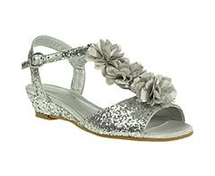 Glitter Wedge Sandals With Corsage Trim - Infant