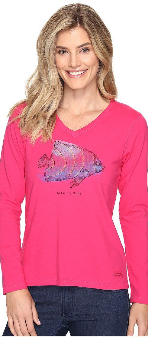 Life is good Tropical Fish Engraved Long Sleeve Crusher Vee (Pop Pink) Women's T Shirt - Life is good, Tropical Fish Engraved Long Sleeve Crusher Vee, 47391, Apparel Top Shirt, T Shirt, Top, Apparel, Clothes Clothing, Gift, - Fashion Ideas To Inspire
