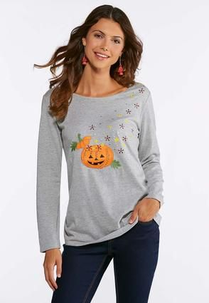 81fd28054ab01 Cato Fashions Plus Size Embellished Pumpkin Tee  CatoFashions ...