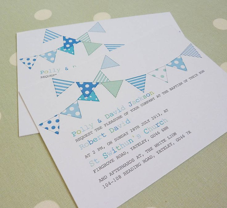 Bunting Personalised Christening Invitations Bunting InvitationBaptism InvitationsBaby