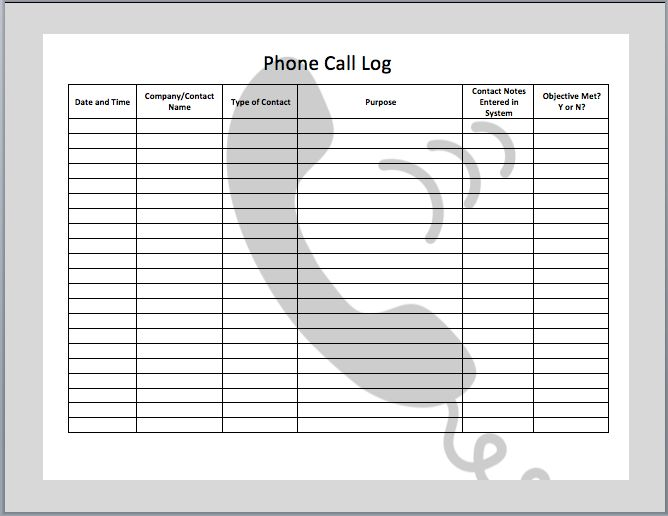 Phone Call Log Template Templates Pinterest Logs And