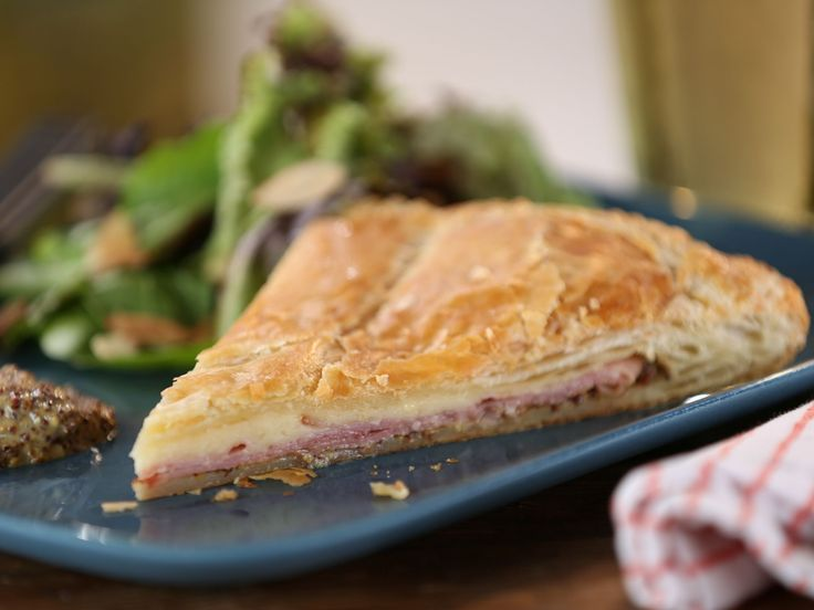 Country Ham and Cheddar Pie with Whole Grain Mustard and Greens with Apricot Vinaigrette and Almonds recipe from Bobby Flay via Food Network