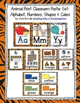 Animal Print Classroom Posters for a Zoo or Jungle Themed classroom - includes alphabet, numbers 0-20, colors, & shapes!