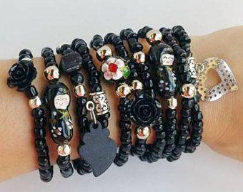 Matrioska - negro rosa - pulseras de la amistad - Boho Chic - tramo pulseras - negro rosa acodar - pila de pulsera - - joyas de apilamiento