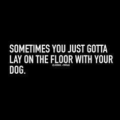 Dog quote. Sometimes you just gotta lie on the floor with your dog.