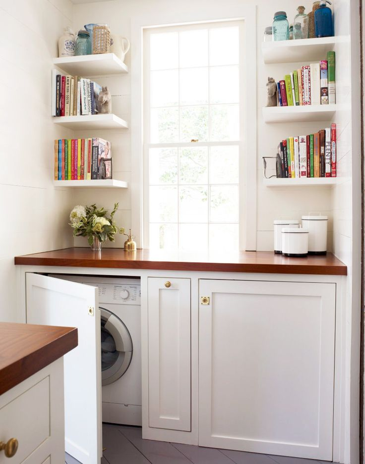 OMG... I love this..... So much space to use.....!!!!!!    Hidden washer and dryer machines in kitchen