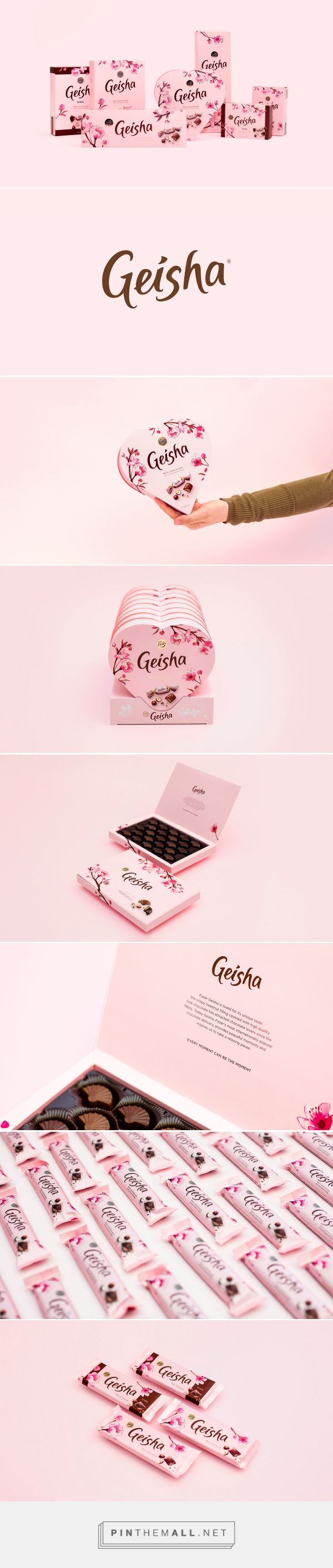 Branding, graphic design and packaging for Fazer Geisha on Behance by Pentagon Design Helsinki, Finland curated by Packaging Diva PD. Who wants some chocolate now?