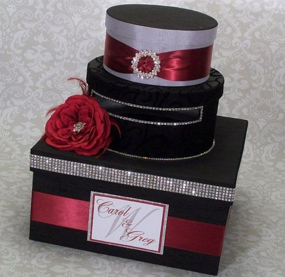 Wedding Card Box Black And Red Goth By IlaLouiseDesigns
