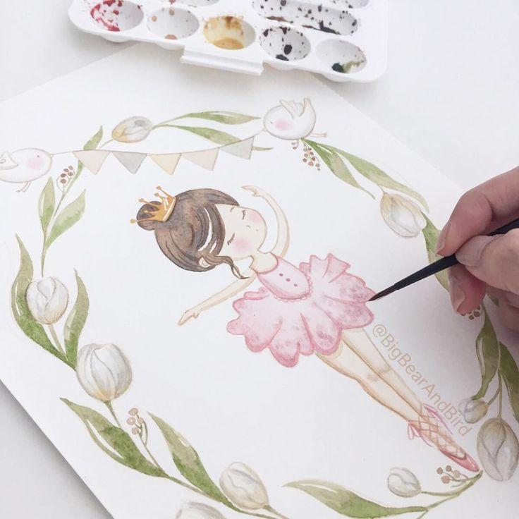 petite ballerina | commissioned illustration-in progress...| #drawing#draw#art_we_inspire#arts_help#worldofartists#handpainted#watercolor#winsorandnewton@winsorandnewton#watercolour#illustration#waterblog#watercolorillustration#illustrationartists#bigbearandbird#cute#instagram#artoftheday#diy#craftsposure#ballerina#tulips