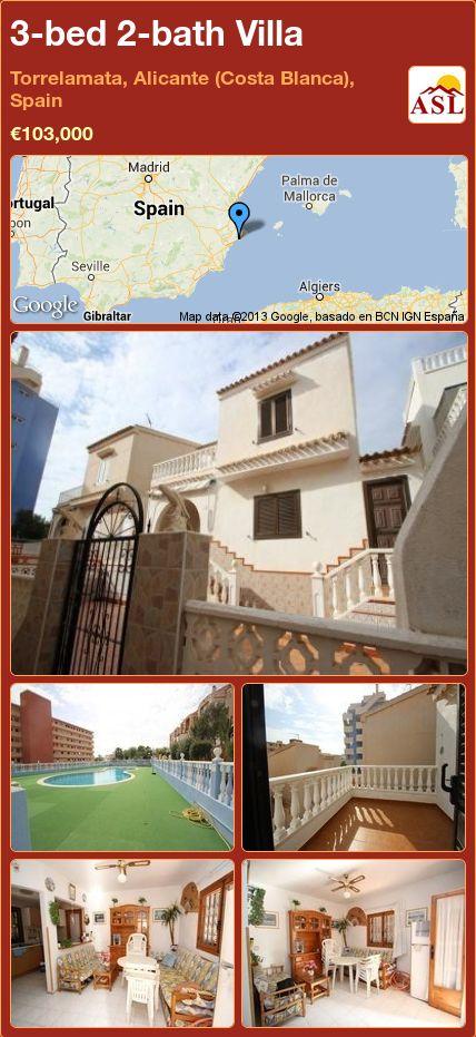 3-bed 2-bath Villa in Torrelamata, Alicante (Costa Blanca), Spain ►€103,000 #PropertyForSaleInSpain